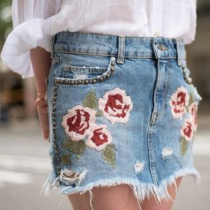 NWOT Free People Embroidered Jeans Miniskirt